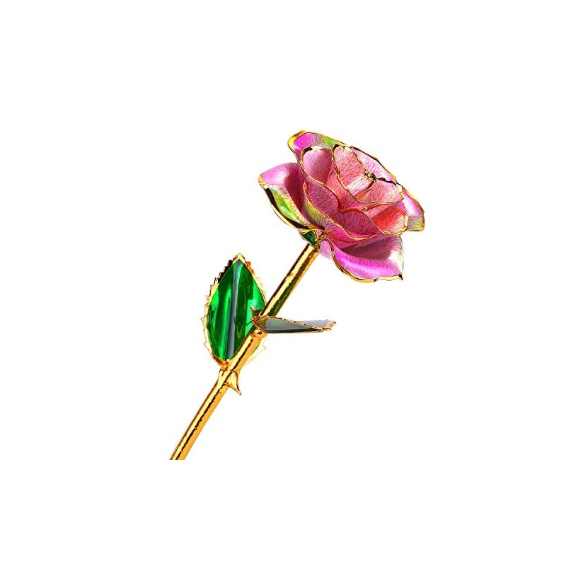 silk flower arrangements 24k gold rose flower with long stem rose dipped in gold gift for women girls on birthday, valentine's day, mother's day, christmas (pink+green)