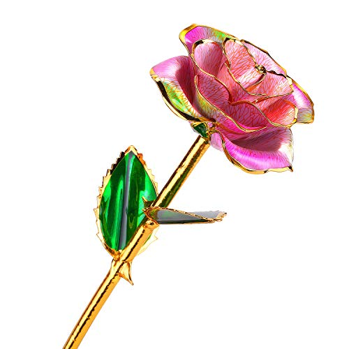 24k Gold Rose Flower with Long Stem Rose Dipped in Gold Gift for Women Girls on Birthday, Valentine's Day, Mother's Day, Christmas (Pink+Green) ()