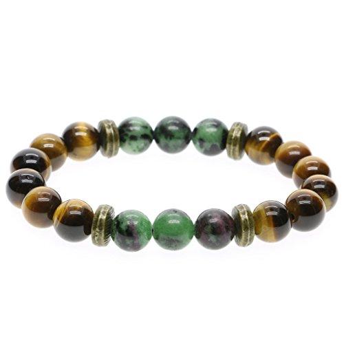 AmorWing Tiger Eye Prayer Bead Stretch Bracelet for Men Women