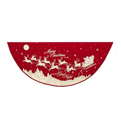 Kurt Adler- Tree Skirt - Red/White Reindeer/Santa