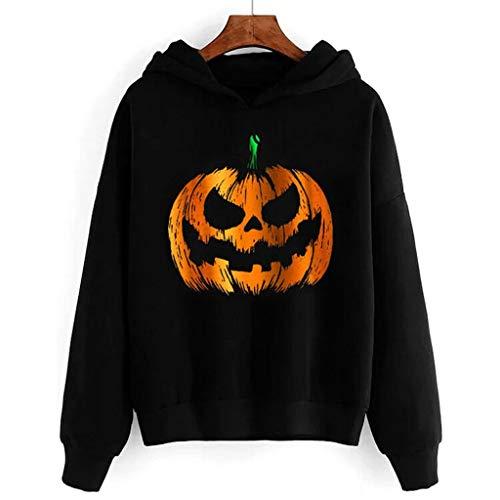 MEEYA Halloween Pumpkin Print Sweatshirt for Womens, Long Sleeve Black Hooded Pullover Blouse (S-2XL)]()