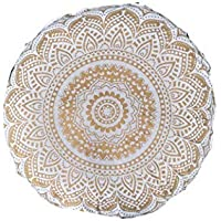 """Indian Craft Castle 32"""" Gold Mandala Barmeri Large Floor Pillow Cover Cushion Meditation Seating Ottoman Throw Cover Hippie Decorative Zipped Bohemian Pouf Ottoman Poufs, Pom Pom Pillow Cases"""