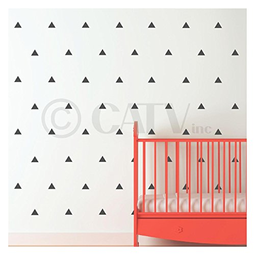 Triangle wall pattern vinyl decal stickers (Charcoal Gray, 3x3 set of 92) ()