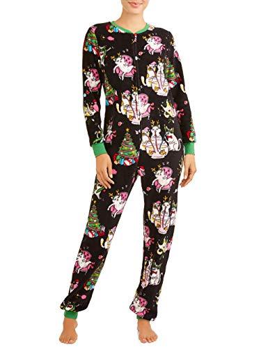 Womens Christmas Cat Dropseat Union Suit Pajamas Pjs (Medium 8-10) -
