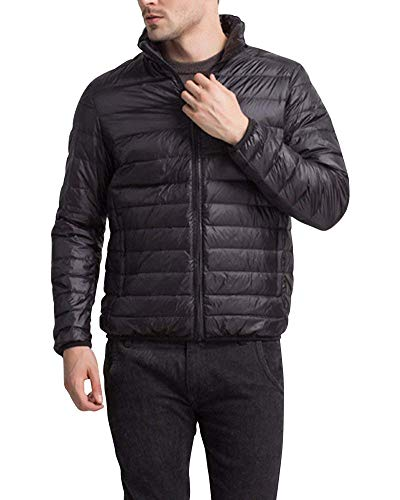 Battercake Men's Down Jacket Jacket Jacket Quilted Winter Padded Jacket Jacket with Stand Collar Comfortable Outerwear Jacket Coat Schwarz