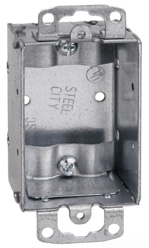 Thomas & Betts SWB-25 3-Inch Length by 2-Inch Width by 1-1/2-Inch Depth Galvanized 1 Gang Old Work Welded Construction Non-Gangable Switch Box, 25-Pack by Thomas & Betts (Image #1)