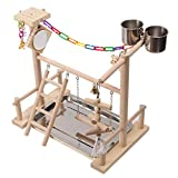 QBLEEV Parrots Playground Bird Stand with Mirror Feeders Cups, Wooden Playgym Playpen Perch, Portable Playstand Swing Ladder Chewing Toys Training Exercise,15.4''x9.8''x15''
