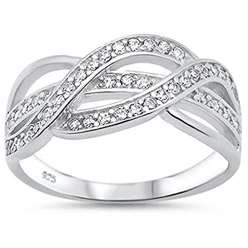 Sterling Silver Crossover Ring - Blue Apple Co. Half Eternity Weave Knot Ring Crisscross Crossover Simulated Round Cubic Zirconia 925 Sterling SilverSize-5