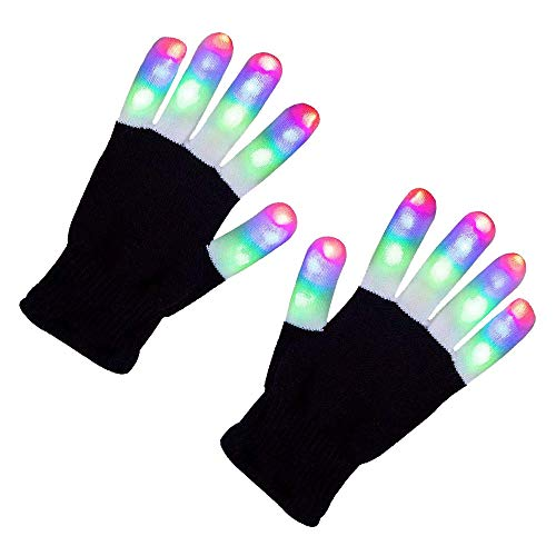 DGJWH LED Gloves Flashing Finger Light Gloves 3 Colors 6 Modes for Halloween Christmas Novelty Light Up Toys Stocking Stuffer for Kids]()