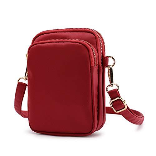 De Hombro Teléfono Mujer Vino Nylon Morado Bolsa Ourbag Celular Casual Para Mini Rojo Billetera Pequeño Bolso Crossbody g5qBCwAw