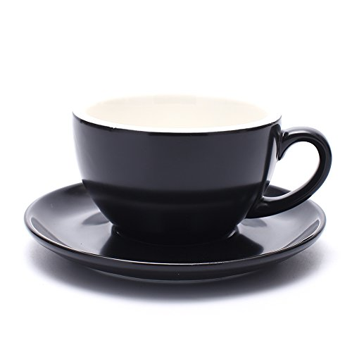 Coffeezone Latte Art Barista Cup and Saucer, Latte & Cappuccino New Bone China 3 Capacity to Choose (Matte Black, 10.5 (Latte Saucer)