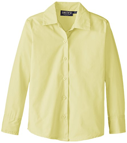 Smith's American Big Girls' Long Sleeve Pointed Collar Blouse, Yellow, (Big Smith Clothing)