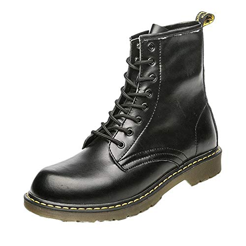 HULKAY Mens Military Boots Upgrade Vintage England Martin Motorcycle Tooling Military Boot(Black,US:8/CN:42) - Granny Combat Boots