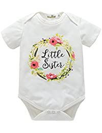 Little Sister Big Sister Matching Outfits, Letter Flowers Prints Short Sleeve Romper and Shirt Outfits