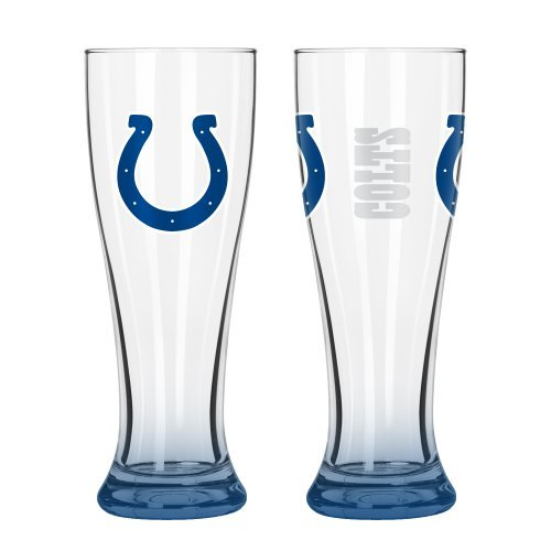 (NFL Football Elite Series Pilsner Glasses - 16 ounce Hourglass Pints, Set of 2 (Colts))