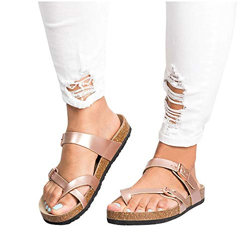 Women's Thong Flat Sandals Cross Strap Adjustable Double Buckle Cork Summer Gladiator Shoes