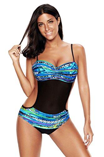 Donna Bikini Unico Mesh Beige Intero Swimwear Senza Blu Bagno In Con Pezzo Costumi Da Yiiquan Schienale Un Design Uz1Iqx6