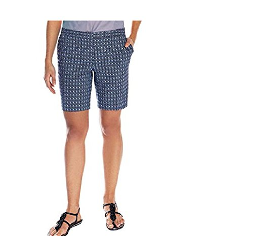 Mario Serrani Womens Italy Comfort Stretch Bermuda Shorts (Blue Pattern, (Wholesale Ladies Short)