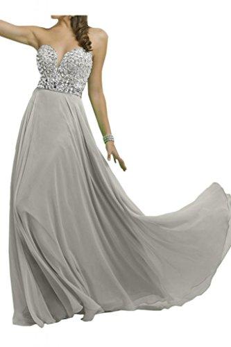 Novia de gasa elegante de cristal en forma de corazón de la Toscana por la noche vestidos de madrinas duro de larga duración de la bola vestidos de fiesta plata