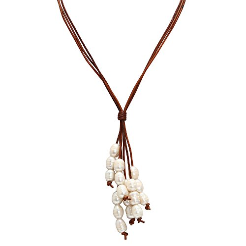 ShengSheng Long Strand Cultured Pearl Pendant Necklaces Genuine Leather Jewelry by PEARLADA