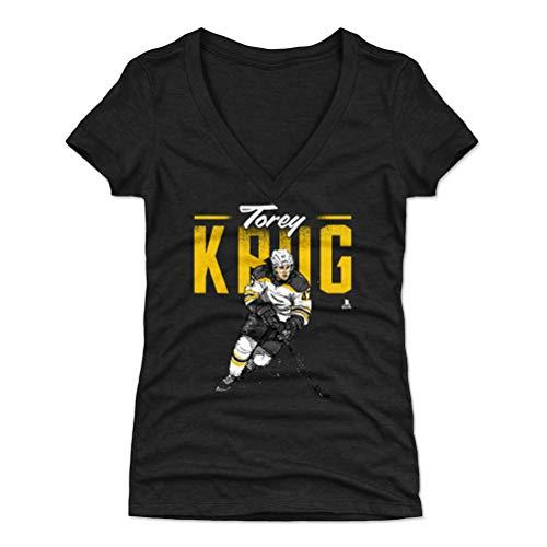 Women's V-Neck Shirt (Small, Tri Black) - Boston Bruins Shirt for Women - Torey Krug Retro Y WHT ()