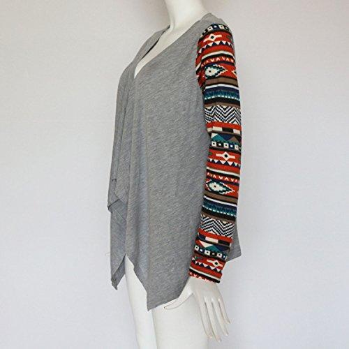 Haut Shirts Cardigan Manches Printemps Femmes Casual Outerwear Gris et Automne Overcoat Tops Chemisier Longues Irregulier Imprime Blouse Blousons qwAAvSgxa