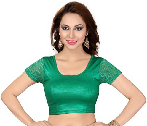 Women's Trendy Stretchable Saree Blouse Crop top with Lace Sleeve Collection!