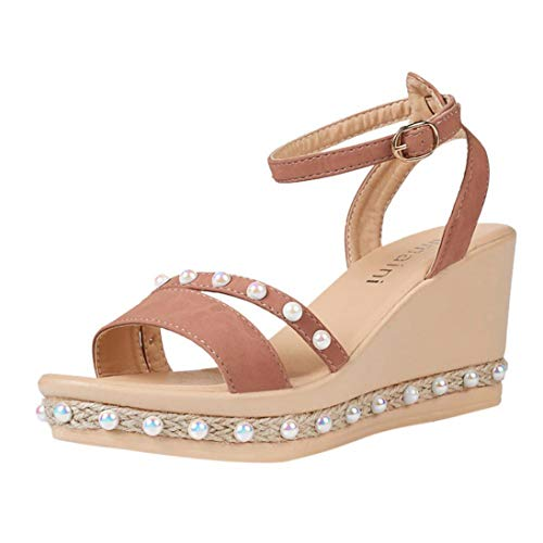 Women Sandals Wedges Shoes Pearl Weaving Thick Bottom Belt Buckle Roman Sandals Breathable Comfort Shoes Pink