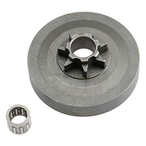 HATCHMATIC Steel Tool Parts 4500 5200 5800 Chainsaw Sprocket Rim Clutch Drum One Body w/Needle Bearing Set for 45CC 52CC 58CC Chainsaw Part -