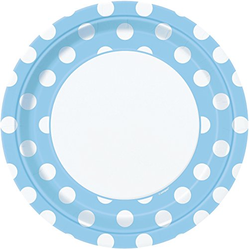 Light Blue Polka Dot Paper Plates, 8ct (Pale Blue Dinner Set)