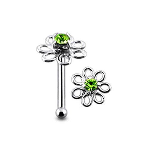 Light Green Jeweled Filigree Flower Top 22 Gauge - 6MM Length Silver Ball End Nose Stud Nose Piercing