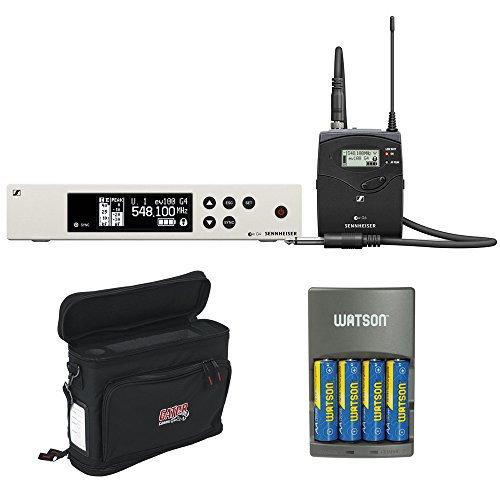 Sennheiser ew 100 G4 Wireless Instrument System with Ci 1 Guitar Cable A: (516 to 558 MHz) plus Gator Cases GM-1W Wireless Mobile Pack and 4-Hour Rapid Charger (4 AA NiMH Batteries) ()
