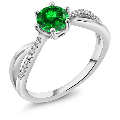 Gem Stone King Green Simulated Emerald 925 Sterling Silver Women's Ring (1.69 Ct Round Cut Available in size 5, 6, 7, 8, 9)