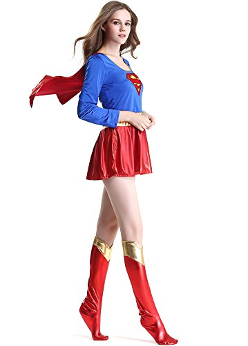 Supergirl Costumes Sexy (IYISS Super Women Halloween Costume Mini Dress with Stockings (L=US Size M, Blue))