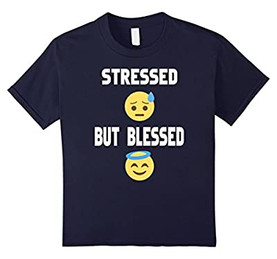 Emoji Stressed but Blessed Christian Funny T-Shirt