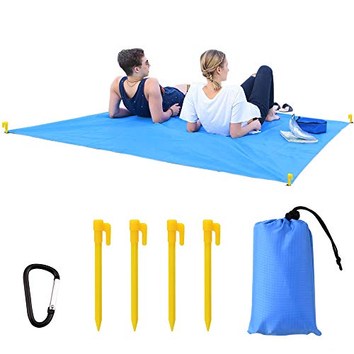 TINGLAN Outdoor Compact Waterproof Beach Blanket Folding Large Ground Cover Portable Sand Proof Picnic Blanket for Travel, Hiking, Camping 79