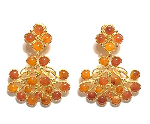 Kenneth Jay Lane, Amber OR Tortoise CABOCHON Drop Dangle Clip OR Pierced Gold Earring ()
