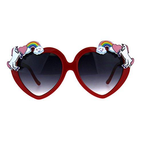 Womens Unicorn Rainbow Heart Funk Valentine Sunglasses ()