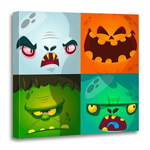 Semtomn Canvas Wall Art Print Cartoon Monster Faces Cute Avatars and Pumpkin Vampire Dracula Artwork for Home Decor 20 x 20 Inches ()