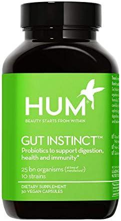 HUM Gut Instinct – 25 Billion CFU Skin Beauty & Gut Support Vegan Probiotics (30 Vegetarian Capsules)