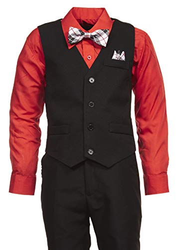 Vittorino Boys 4 Piece Holiday Suit Set with Vest Shirt Tie Pants and Hankerchief, Black/Solid Red, 4