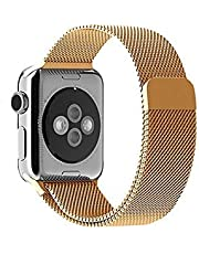 Stainless Steel Mesh Loop Replacement Wrist Band strap for Apple Watch 42mm - Gold