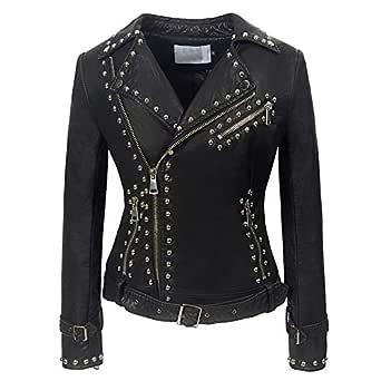 DISSA P170 Women Faux Leather Biker Jacket Slim Coat Leather Jacket,Black-1,S,UK 8