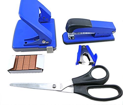 Pack oficina sobremesa (Azul) - Grapadora, taladradora, quita grapas y tije