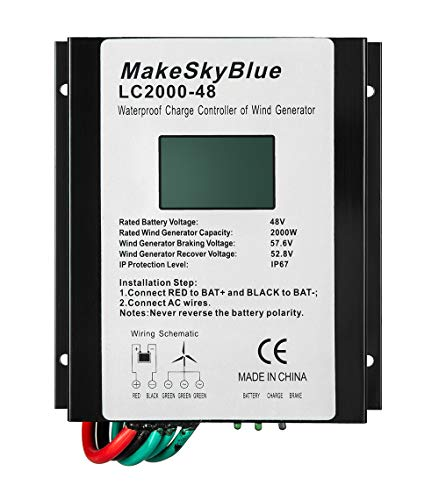 MakeSkyBlue Wind Charge Controller, for 2000W 48V AC Wind Turbine Generator, IP67 Waterproof with LCD Display (LCD2000-48) (Best Generator For Wind Turbine)