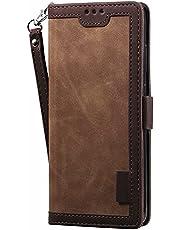 ESONG Portemonnee Case voor xiaomi 11T/11T Pro,Lederen Beschermhoes & Credit Card Pocket,Ondersteuning Kickstand,flip case-Donker bruin