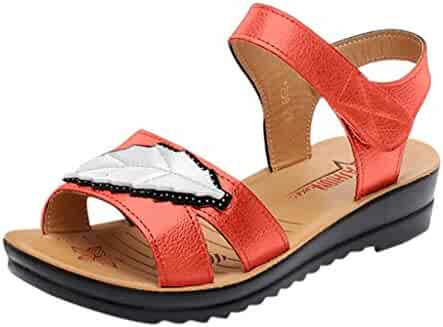 cce511f8e356 LOVOZO 2019 New Women Ladies Summer Fashion Leather Sandals Wedges Comfort  Big Size Shoes