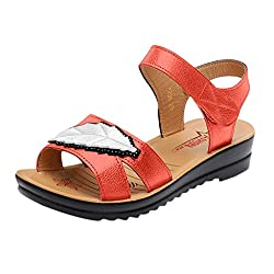 Wensy Women S Soft Bottom Wedge Leather Sandals Non Slip Large Size Shoes Casual Shoes Lazy Shoes Pregnant Women Shoes Orange 40