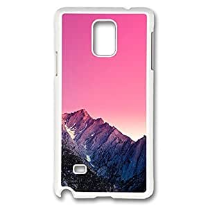 Galaxy Note 4 Case, Creativity Design Mountain Peak Pink Gradient Effect Creativity Print Pattern Perfection Case [Anti-Slip Feature] [Perfect Slim Fit] Plastic Case Hard White Covers for Samsung Galaxy Note 4