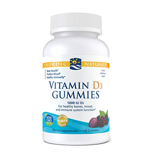 Nordic Naturals Vitamin D3 Gummies, Wild Berry – 1000 IU Vitamin D3-120 Gummies – Great Taste – Healthy Bones, Mood…